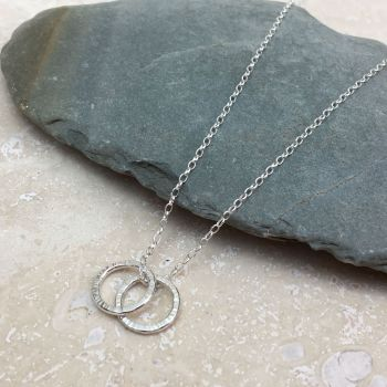 Sterling Silver Two Hammered Ring Necklace