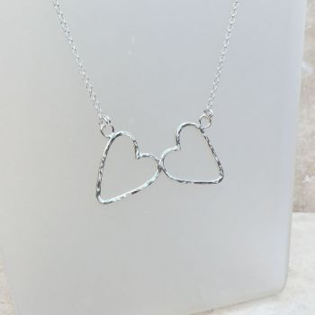 Sterling Silver Hammered Double Heart Necklace