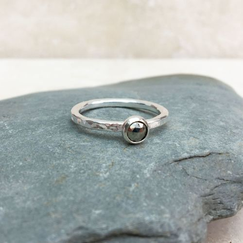 Silver and Pyrite Ring