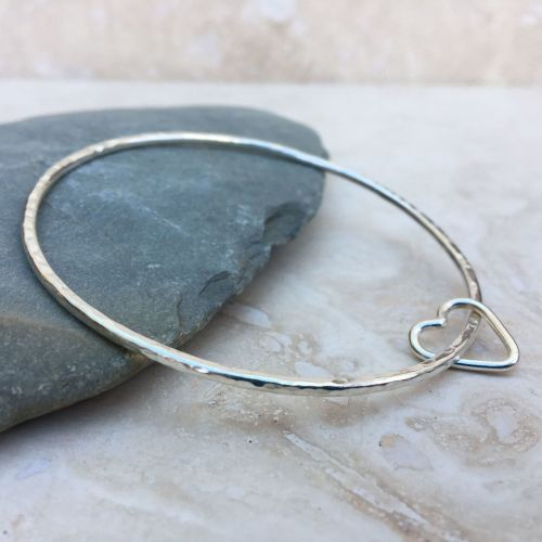 Sterling Silver Hammered Heart Charm Bangle