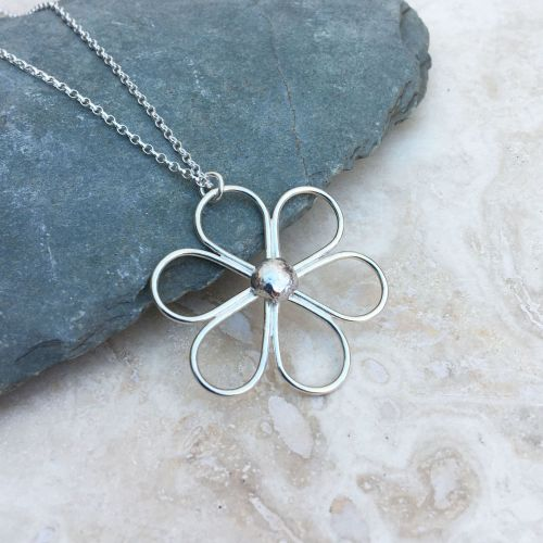 Silver Wire Flower Necklace
