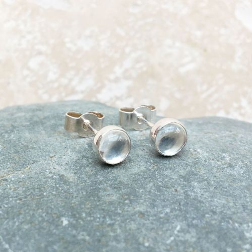 Crystal Quartz and Silver Studs