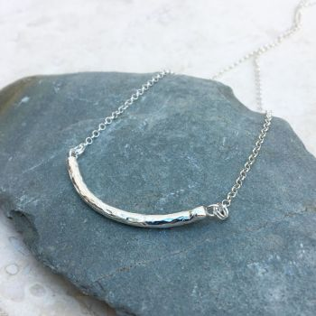 Sterling Silver Hammered Silver Bar Necklace
