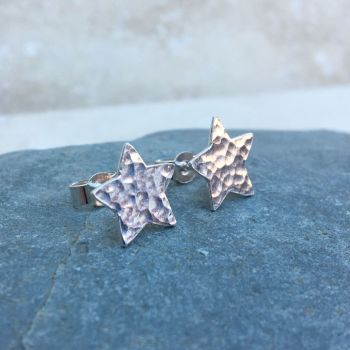 Sterling Silver Hammered Star Stud Earrings