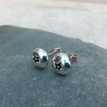 Sterling Silver Pebble Star Stud Earrings