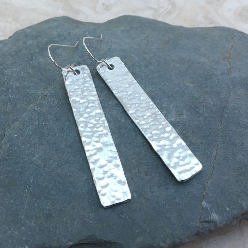 Sterling Silver Long Hammered Silver Rectangle Earrings