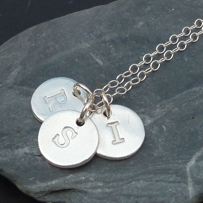 Personalised Triple Silver Letter / Initial Charm Necklace