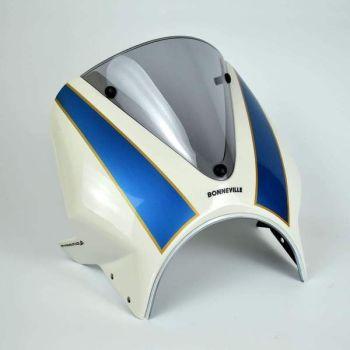 Triumph Bonneville T100 (16+) Vision Fly Screen White and Blue 26002D