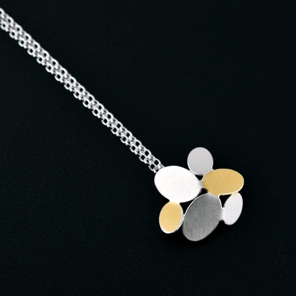 Mixed ovals flower pendant with Keumboo
