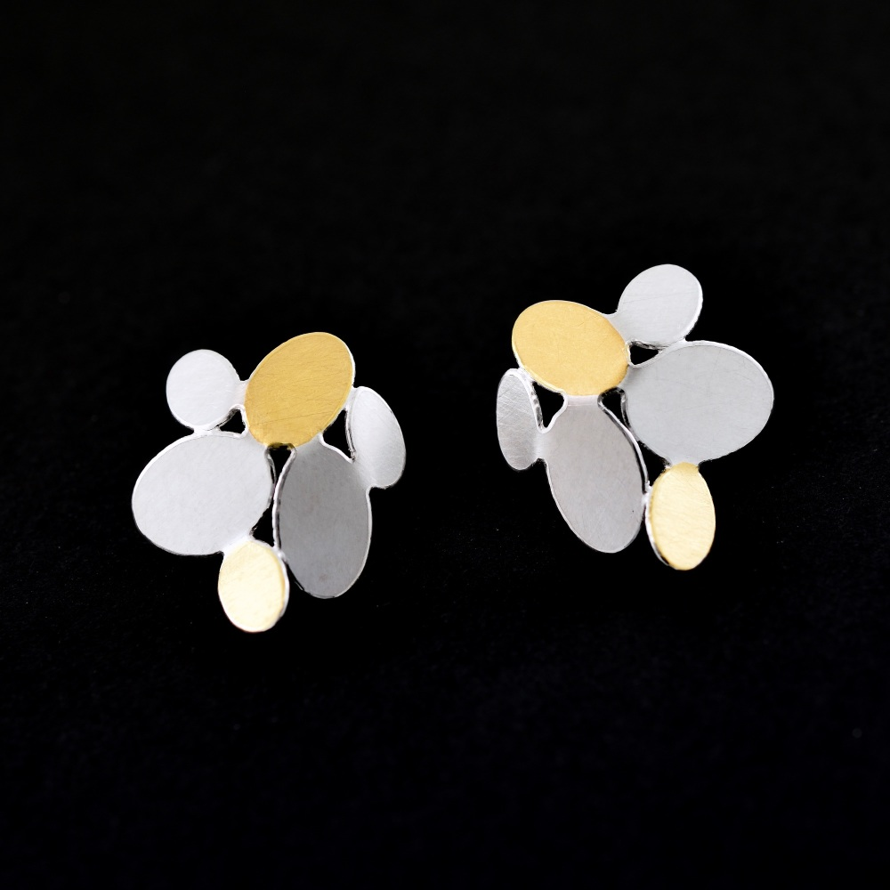 Mixed ovals flower earrings