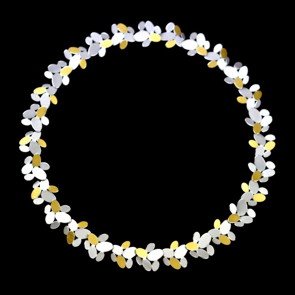 <!-- 003 -->Mixed ovals flower chain necklace V