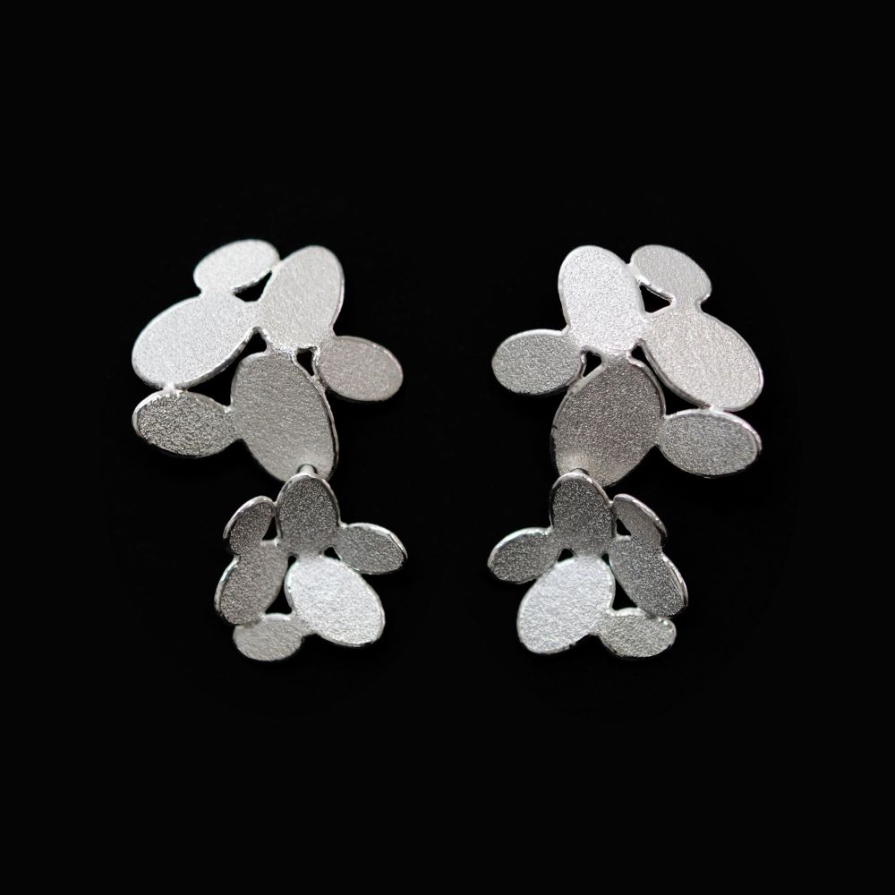 Double mixed ovals flowers long earrings