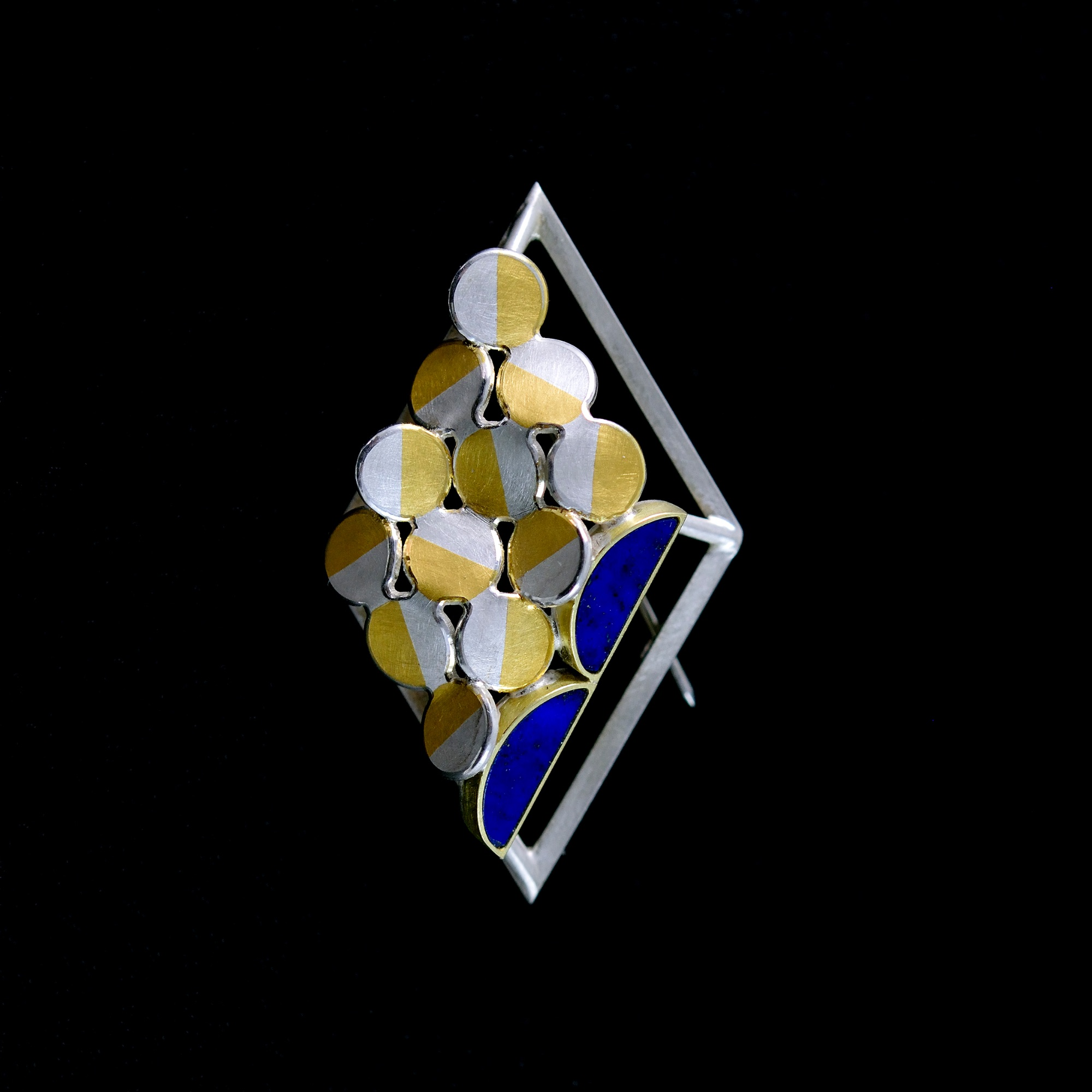 Rhombus lapis brooch