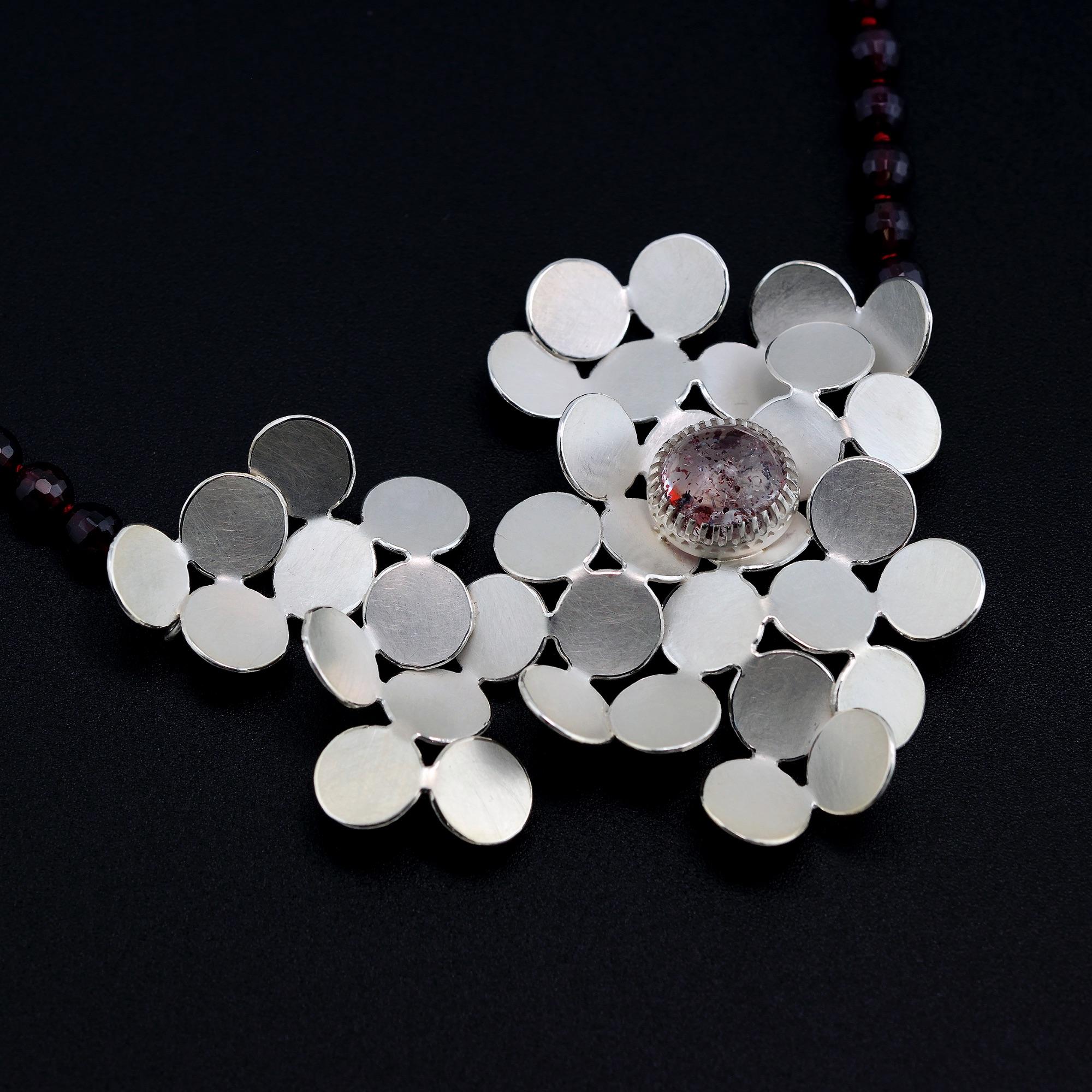 Random pattern pendant with strawberry quartz and garnet