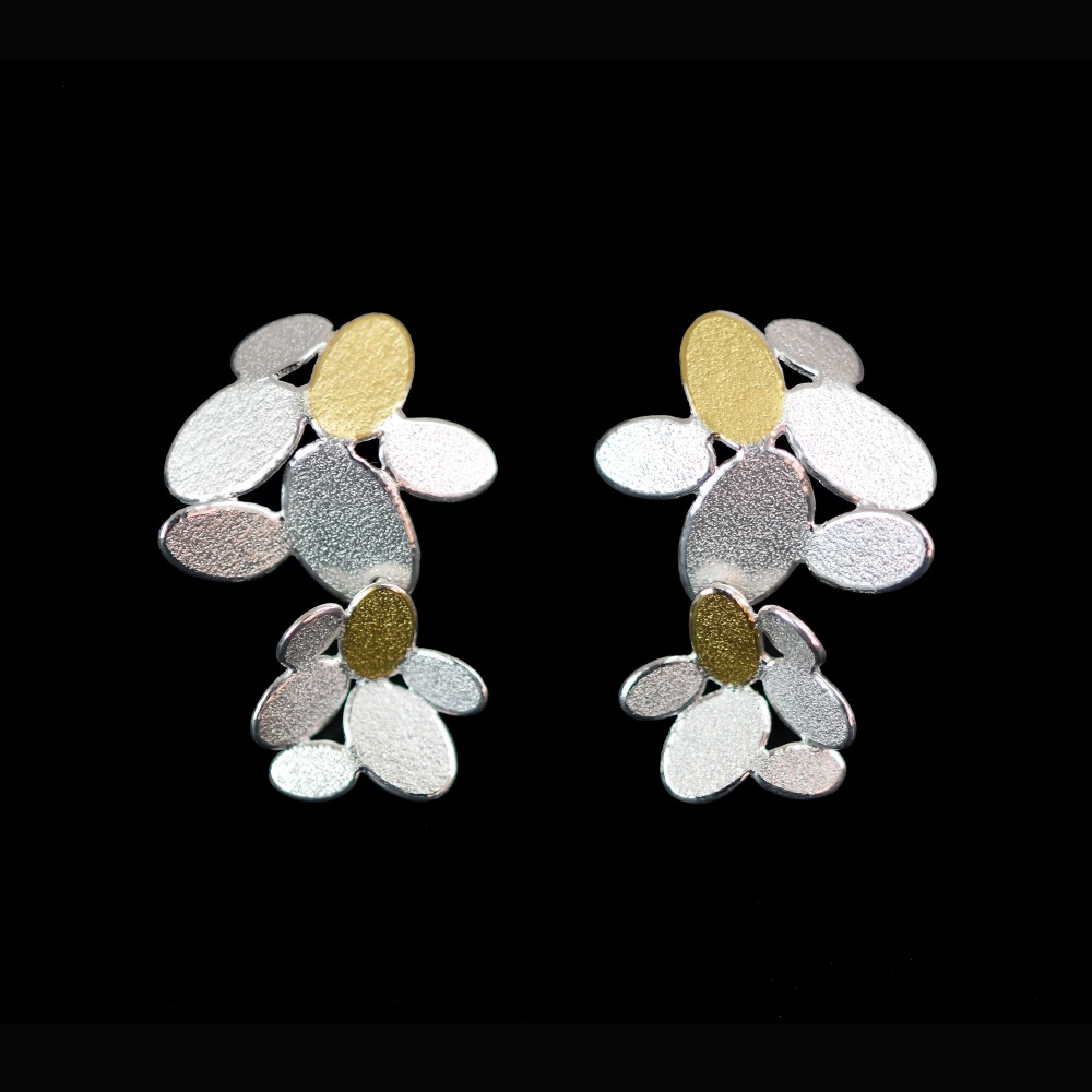 Double mixed ovals flowers long earrings with Keumboo