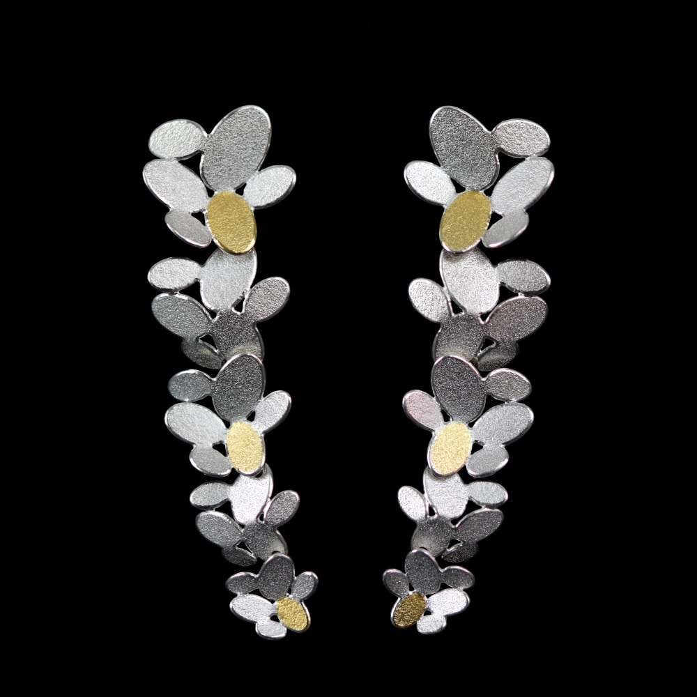 5 mixed ovals flowers chain earrings