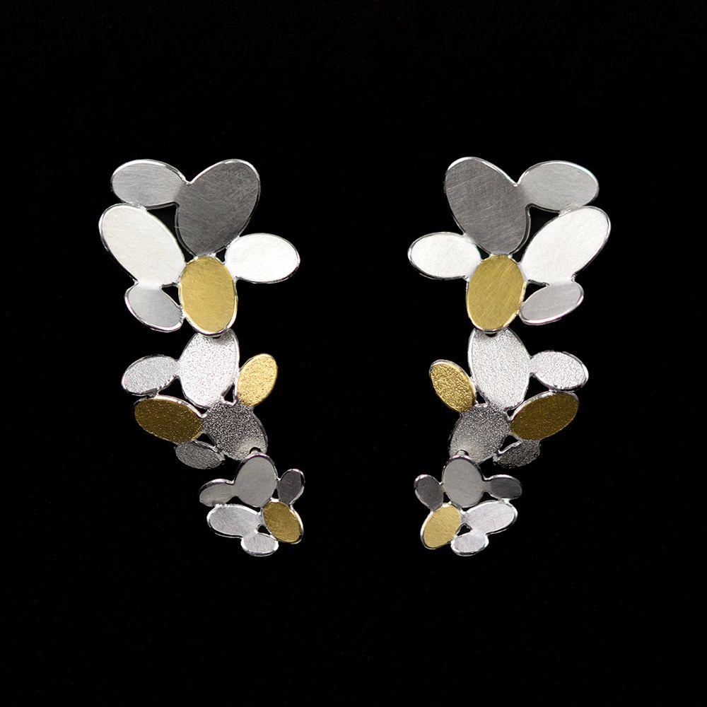 3 mixed ovals flowers long earrings