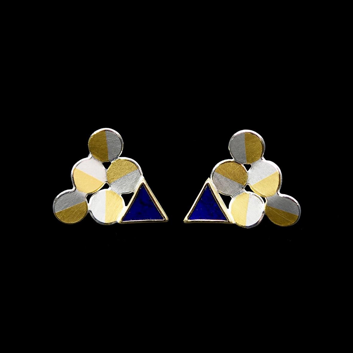 Triangle lapis earrings