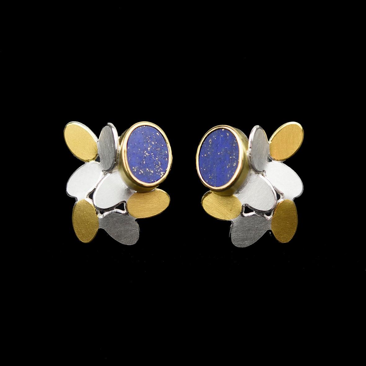 Random pattern lapis earrings with Keumboo