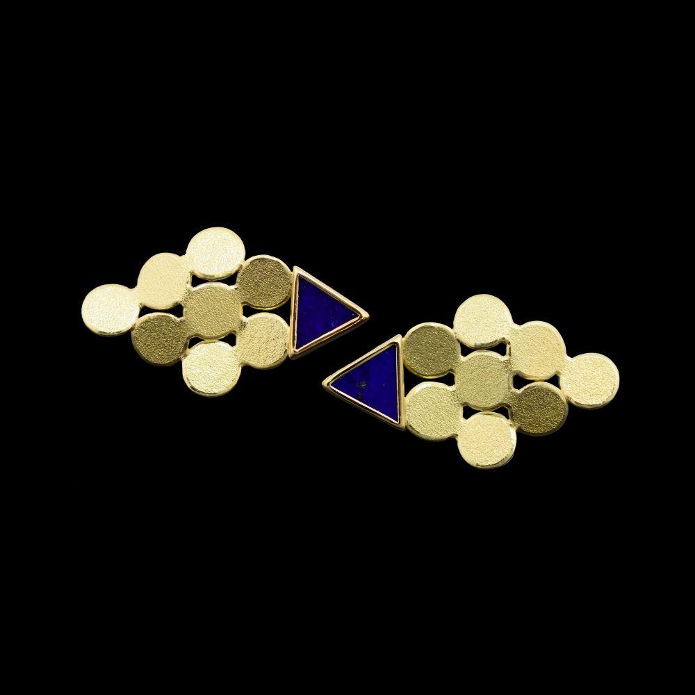 Rhombus lapis gold earrings