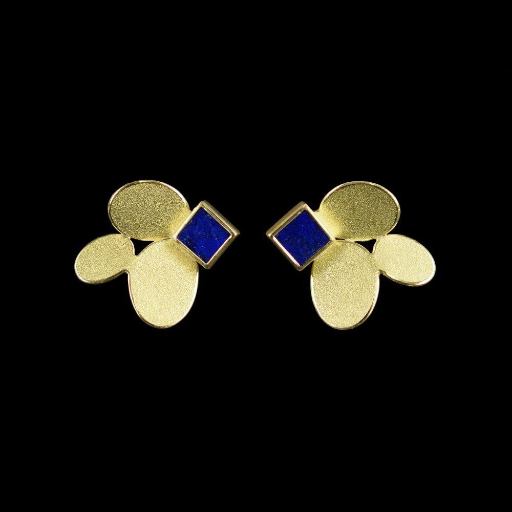 3 ovals lapis gold earrings