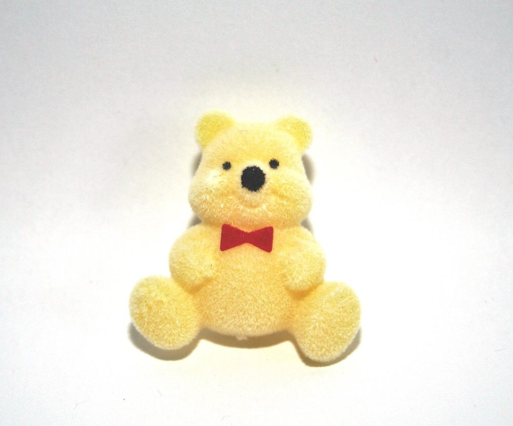 Flocked Teddy Bear Pin Badge