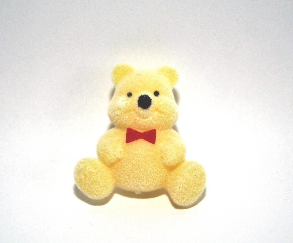 Flocked Teddy Bear Pin Badge