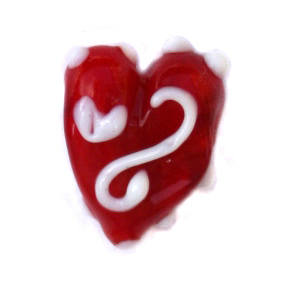 Glass heart bead - Red