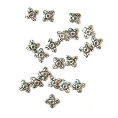 Metal silver coloured bead end caps(20 pack)