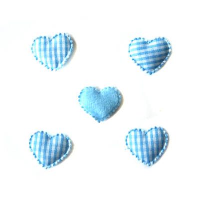 Gingham Padded Hearts - Blue