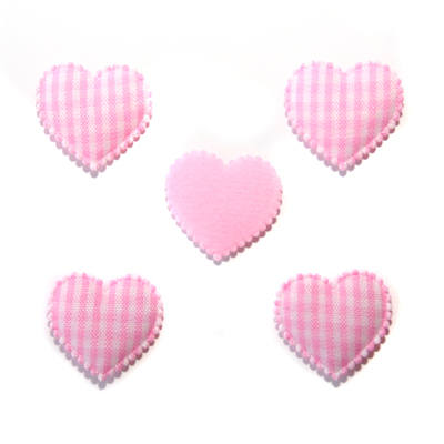 Gingham Padded Hearts - Pink