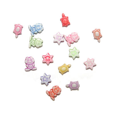 Acrylic Character Beads - Mixed pack of 15