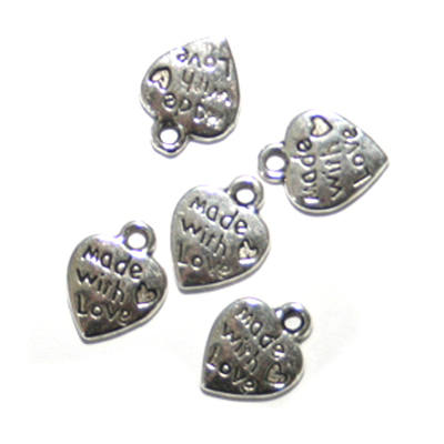 Made with love charms - Metal - Silver coloured- Pack of 5