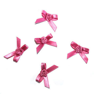 Satin Ribbon Rose Bows - 5 Pack