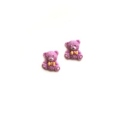 2x Teddy Bear Cabochons - Pink