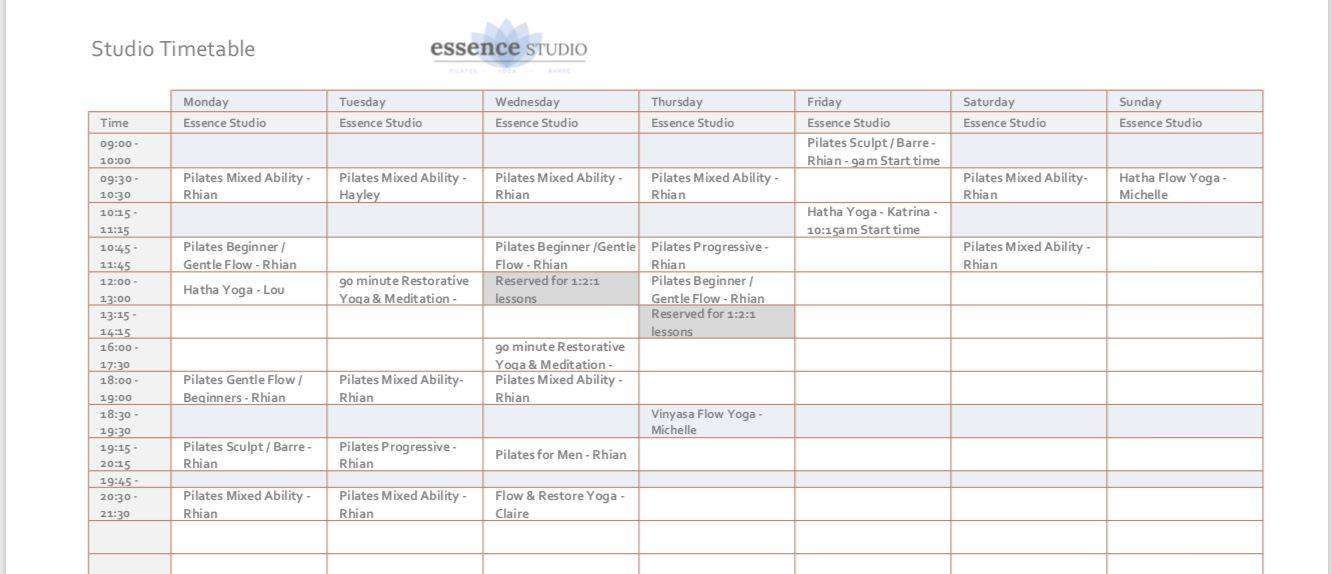 studio timetable winter 2019