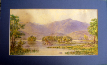 Rydal Lake, Cumbria, England, watercolour on paper, unsigned. c1900. Framed.