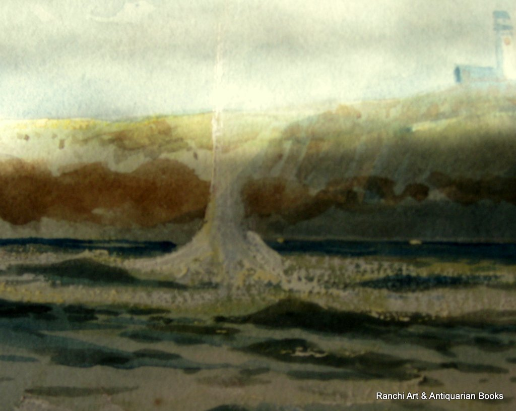 Anti-Submarine ops off Flamborough Head, watercolour gouache, signed Austin Smith 1920. Detail.