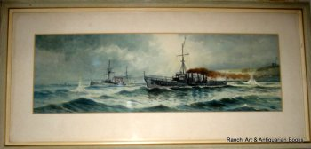 Anti-Submarine Ops off Flamborough Head, watercolour & gouache, signed Austin Smith 1920.