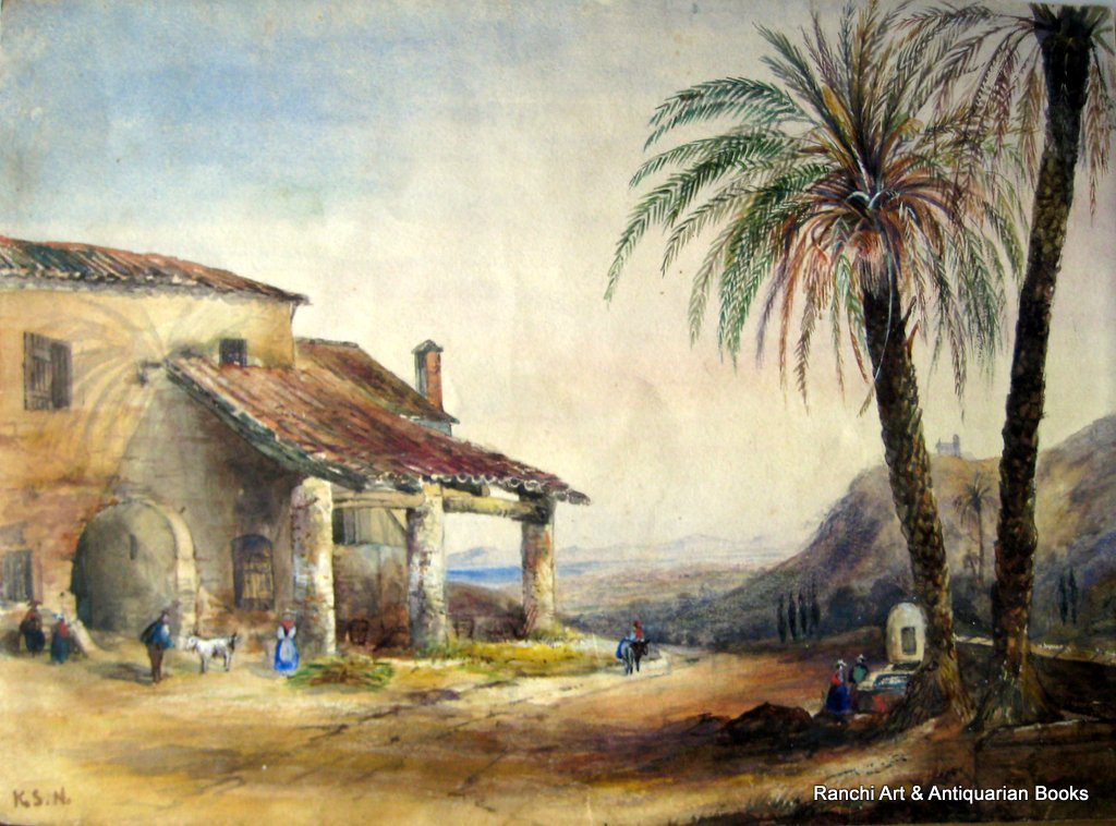 Peruvian landscate with figures, watercolour, signed initials K.S.N. c1850.