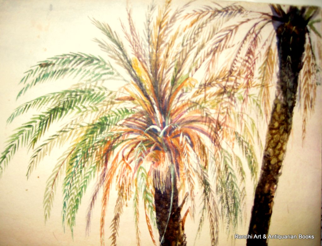 Peruvian landscate with figures, watercolour, signed initials K.S.N. c1850. Detail.