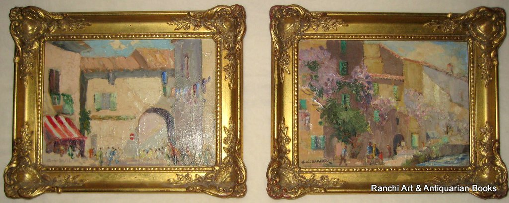 A pair, St. Tropez and La Tour d'Aigues street scenes, oils on board, signed G.C. Barlow, c1960. Matching frames.