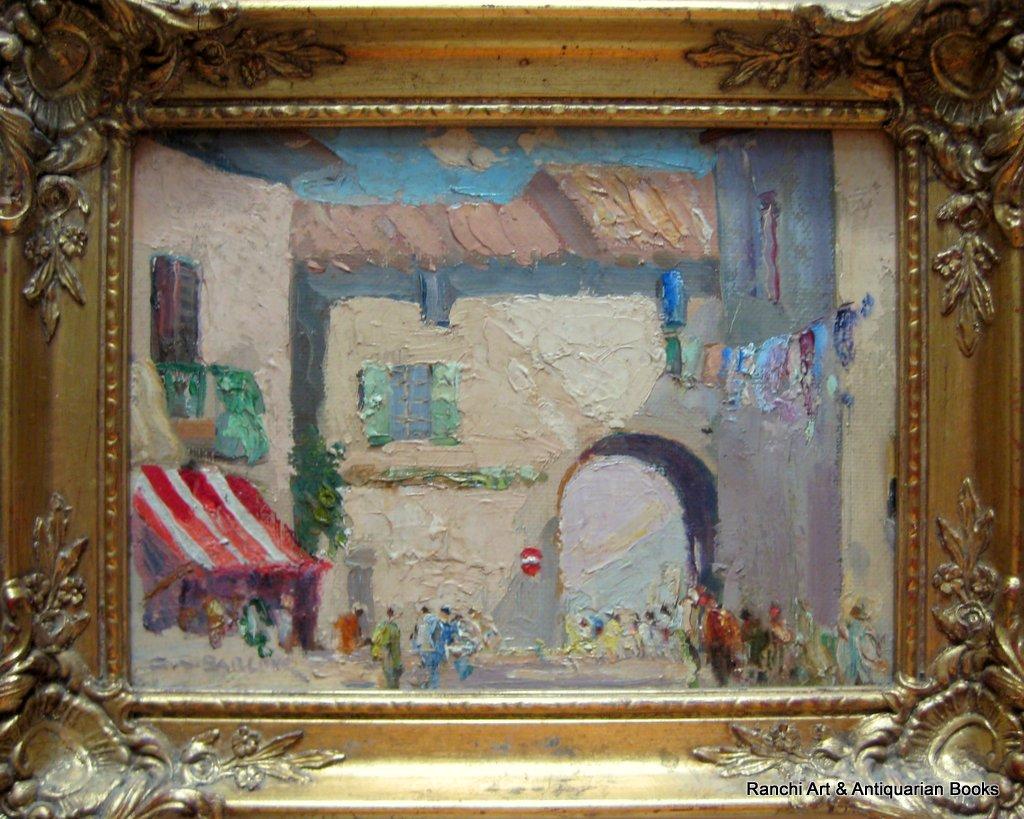 St. Tropez. A pair, St. Tropez and La Tour d'Aigues street scenes, oils on board, signed G.C. Barlow, c1960. Matching frames.