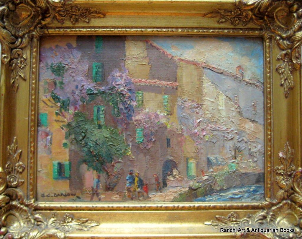 La Tour d'Aigues. A pair, St. Tropez and La Tour d'Aigues street scenes, oils on board, signed G.C. Barlow, c1960. Matching frames.