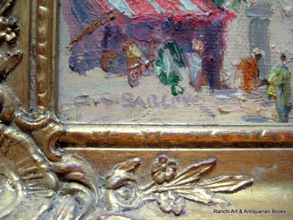 St. Tropez. A pair, St. Tropez and La Tour d'Aigues street scenes, oils on board, signed G.C. Barlow, c1960. Matching frames. Signature.
