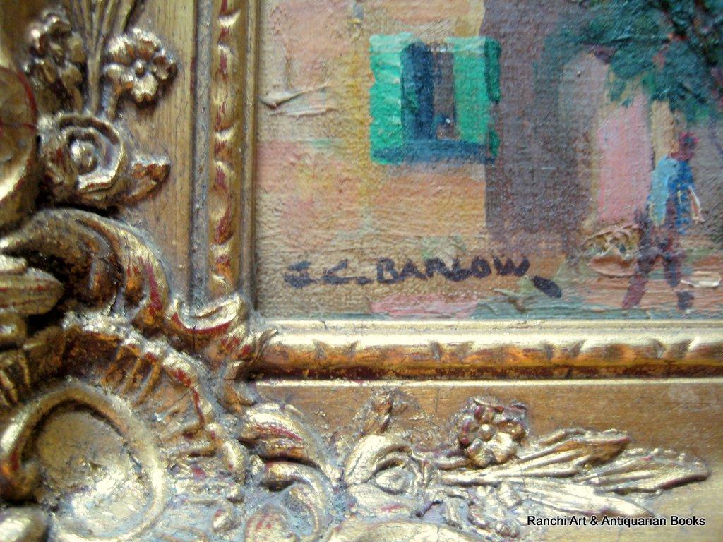 La Tour d'Aigues. A pair, St. Tropez and La Tour d'Aigues street scenes, oils on board, signed G.C. Barlow, c1960. Matching frames. Signature.