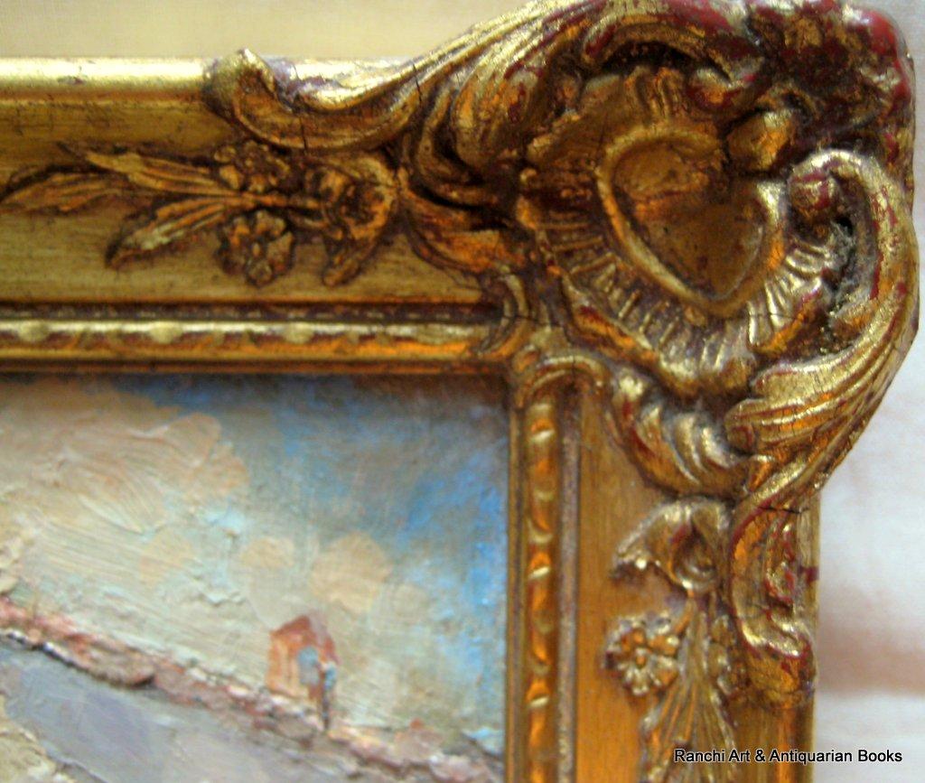 St. Tropez. A pair, St. Tropez and La Tour d'Aigues street scenes, oils on board, signed G.C. Barlow, c1960. Matching frames. Frame.