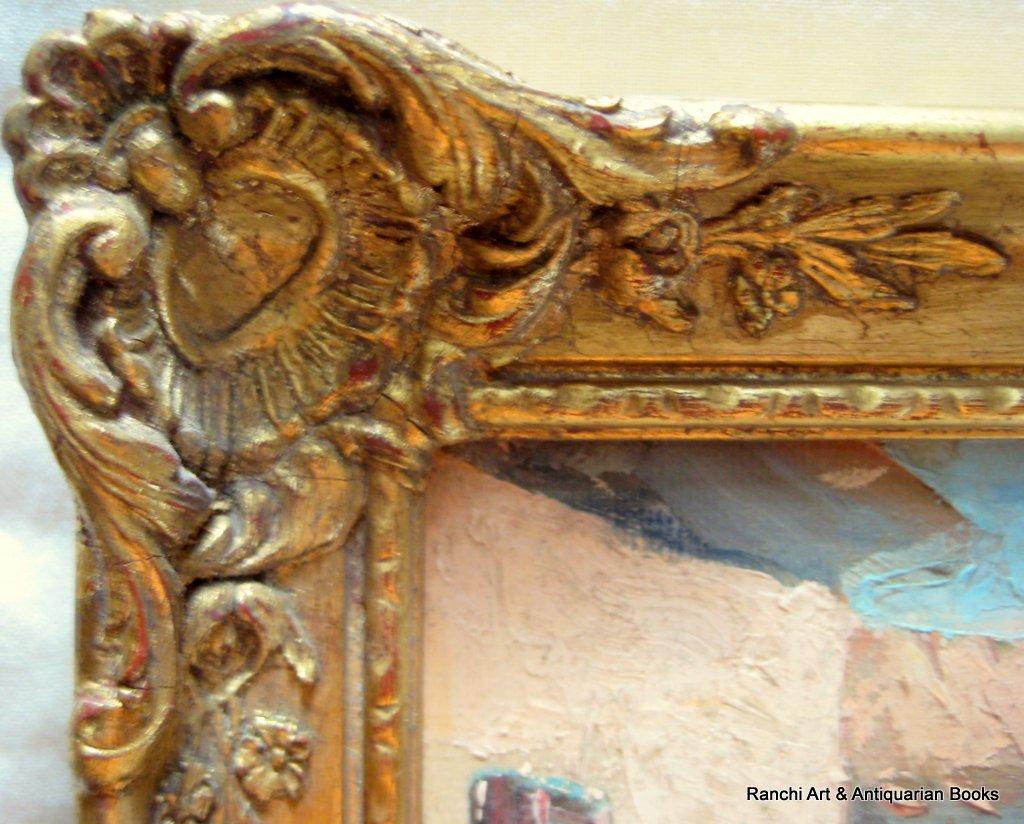 La Tour d'Aigues. A pair, St. Tropez and La Tour d'Aigues street scenes, oils on board, signed G.C. Barlow, c1960. Matching frames. Frame.
