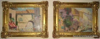 St. Tropez and La Tour d'Aigues Street Scenes, a pair, oils on board, signed G.C. Barlow. c1960.