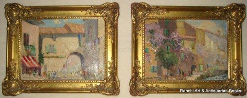St. Tropez and La Tour d'Aigues Street Scenes, a pair, oils on board, signe